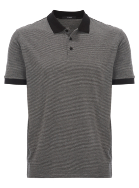 Fine Stripe Polo Shirt - Black