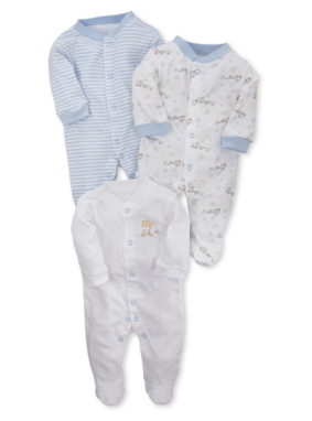 3 Pack Sleepsuits - Blue