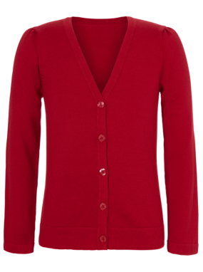 Girls School V-Neck Cardigan - Red
