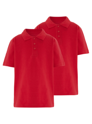 School 2 Pack Polo Shirts - Red