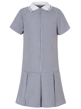 Navy Sporty Style Gingham Dress