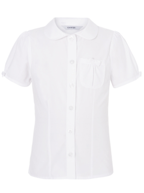 Girls School Bow Detail Shirt - White