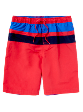 Striped Panel Swimshorts - Red