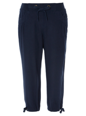 Cropped Linen Blend Trousers - Navy