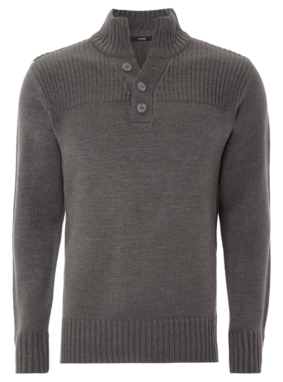 Funnel Neck Jumper - Grey