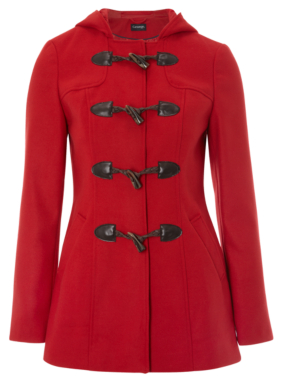 Hooded Toggle Coat - Red