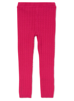 Cable Knit Leggings - Pink