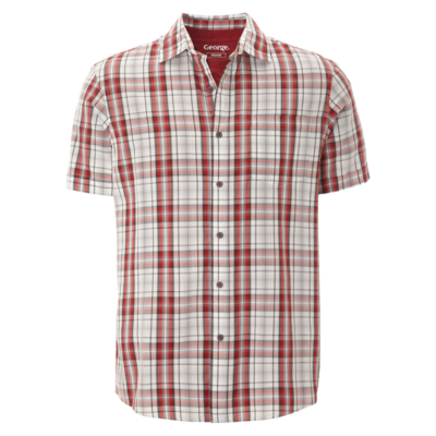 Men's Tops George 2 Piece T-Shirt and Checked Shirt - Red