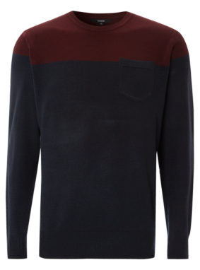 Colour Block Jumper - Navy