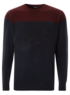 Colour Block Jumper - Navy main view
