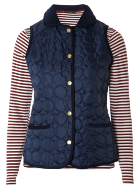 Moda Gilet and Striped Top - Navy