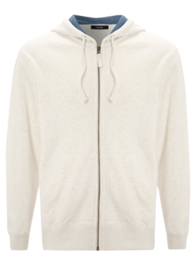 Zip Through Hoody - White Marl