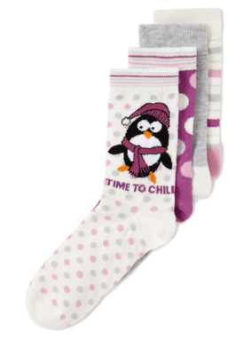 4 Pack Penguin Socks