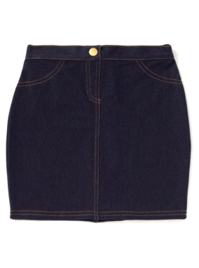 Jersey Denim Skirt - Blue