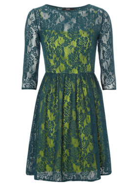 Lace Overlay Formal Dress - Green