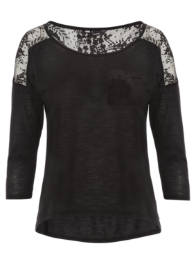 Lace Panel Jersey Top - Black