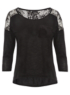 Lace Panel Jersey Top - Black main view