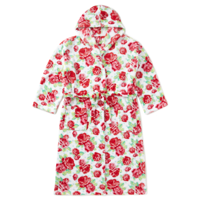 George Floral Hooded Dressing Gown - Aqua