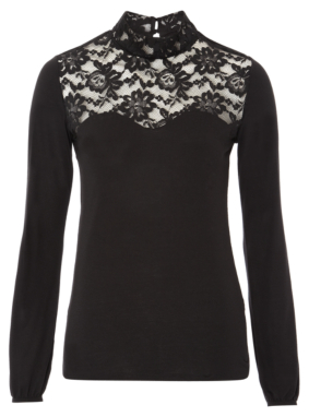 Lace Panel Roll Neck Top - Black