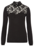 Lace Panel Roll Neck Top - Black main view