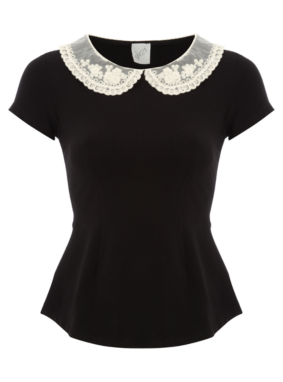 G21 Crochet Collar Peplum Top