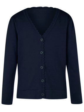 Girls School Scallop Trim Cardigan - Navy