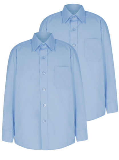 Boys School 2 Pack Long Sleeve Shirts - Light Blue | School ...