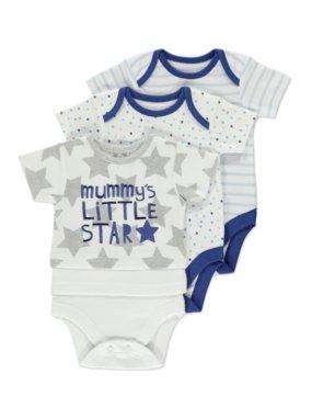 Mummy's Little Star 3 Pack Short Sleeve Bodysuits