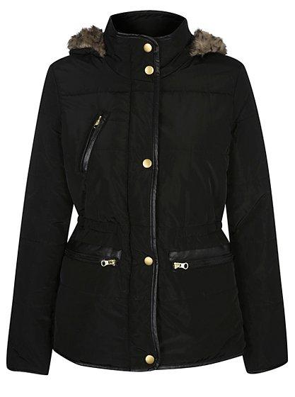 g21 faux fur trim puffa jacket women george at asda. Black Bedroom Furniture Sets. Home Design Ideas