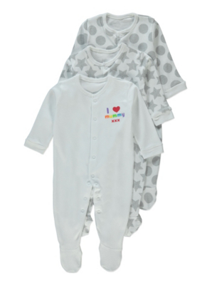 3 Pack Assorted Long Sleeve Sleepsuits