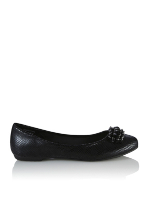 Round Toe Jewel Ballerina Shoes