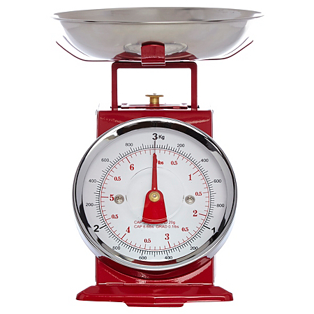 George home traditional kitchen scale red 3kg baking for Traditional kitchen scales