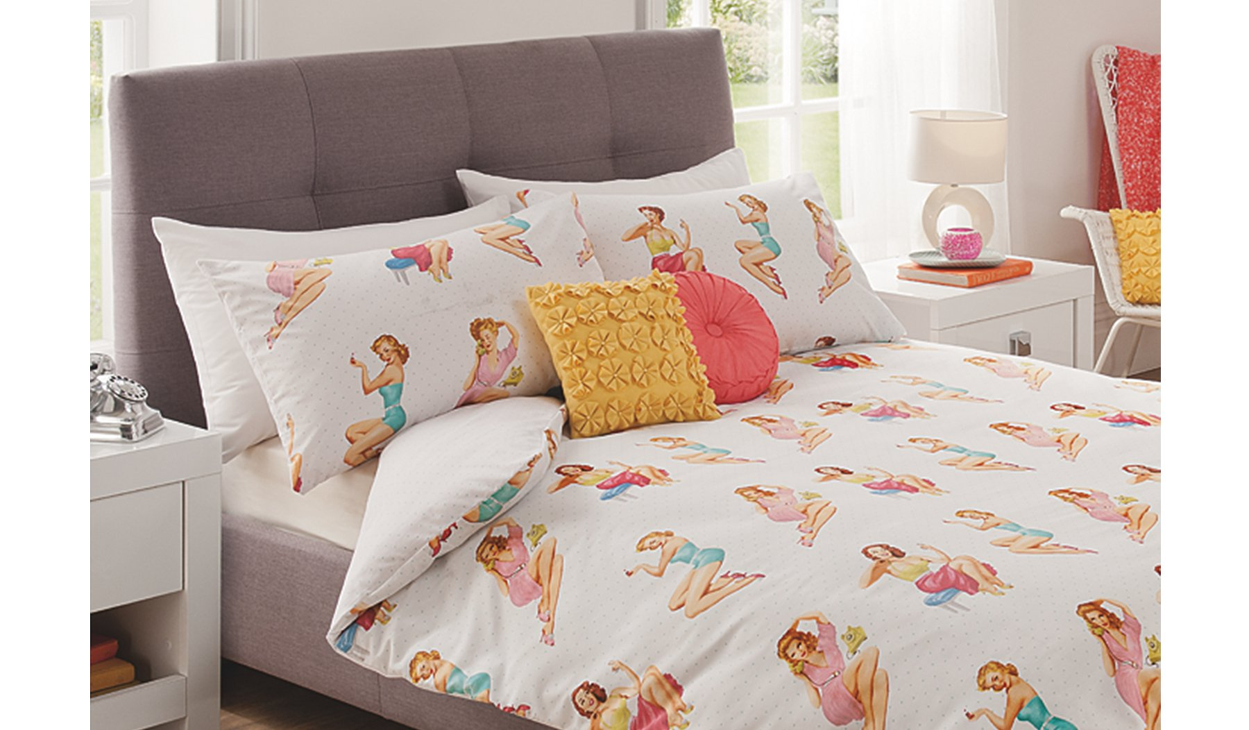Pony Bedroom Accessories George Home Fifties Pin Ups Duvet Set Bedding George At Asda