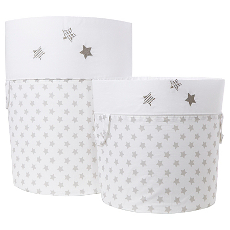 George Baby Grey Little Stars Storage Tubs Nursery