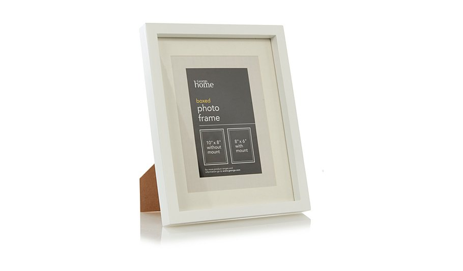 george home white boxed photo frame 8 x 6 inch home. Black Bedroom Furniture Sets. Home Design Ideas