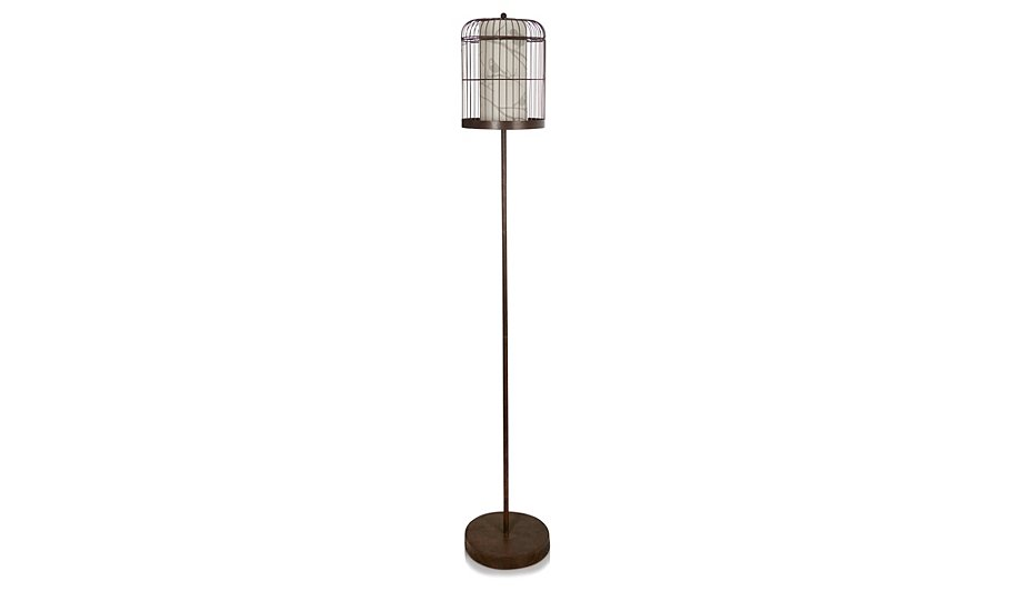 George home metallic birdcage floor lamp lighting for Floor lamp asda