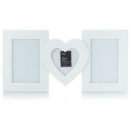 george home white heart photo frame set frames albums. Black Bedroom Furniture Sets. Home Design Ideas