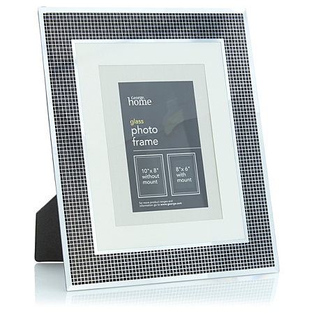 george home glass glitter photo frame frames asda direct. Black Bedroom Furniture Sets. Home Design Ideas