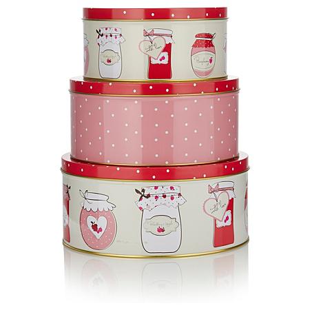 george home set of three jam jar nested cake tins baking. Black Bedroom Furniture Sets. Home Design Ideas