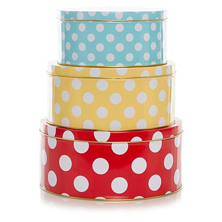 george home polka dot cake tins 3 pack baking asda. Black Bedroom Furniture Sets. Home Design Ideas