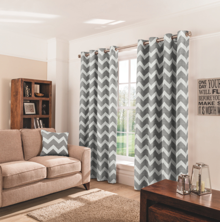 Dark grey shower curtain - George Home Charcoal Chevron Eyelet Curtains Curtains Asda Direct
