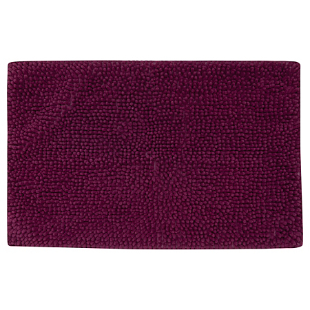 George Home Plum Microfibre Plain Chenille Bath Mat