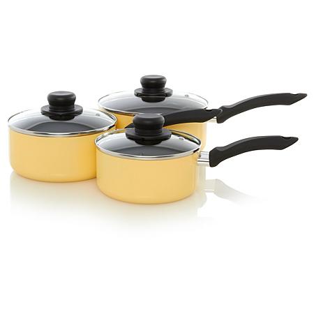 george home 3 piece non stick saucepan set sunshine yellow. Black Bedroom Furniture Sets. Home Design Ideas
