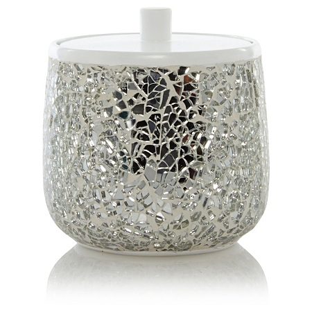 George Home Sparkle Container Silver Bathroom Accessories ASDA Direct