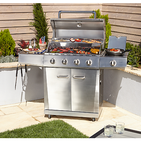 uniflame 4 burner side gas grill bbqs heating asda. Black Bedroom Furniture Sets. Home Design Ideas