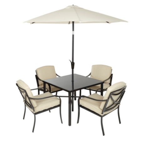 Haversham classic patio set in dark linen 6 piece garden furniture