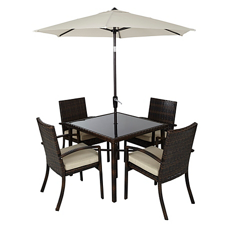 Jakarta 6 piece patio dining set dark linen garden for Outdoor furniture jakarta