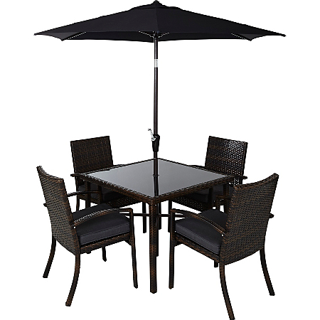 Jakarta 6 piece patio dining set charcoal grey garden for Outdoor furniture jakarta
