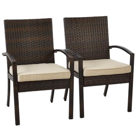 George Home 2 Jakarta Patio Arm Chairs Dark Linen Garden