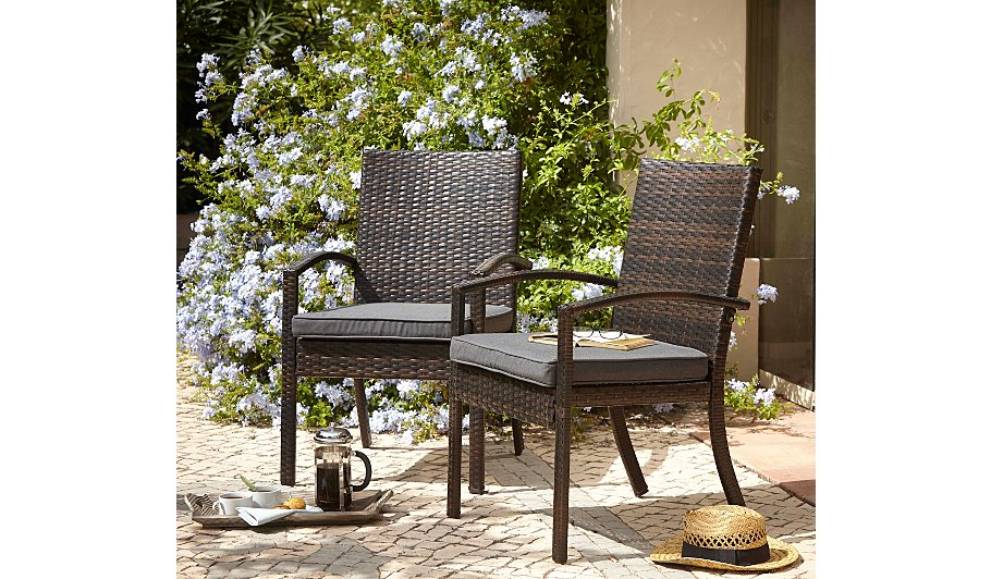 Jakarta 2 patio arm chairs garden furniture george at asda for Outdoor furniture jakarta